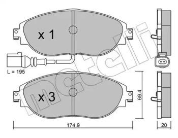 Комплект тормозных колодок, дисковый тормоз 22-0952-0 METELLI