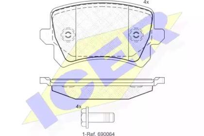 Комплект тормозных колодок, дисковый тормоз 181857 ICER