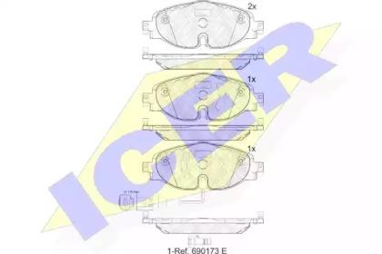Комплект тормозных колодок, дисковый тормоз 182111 ICER