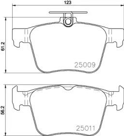 Комплект тормозных колодок, дисковый тормоз 8DB 355 020-261 HELLA