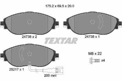 Комплект тормозных колодок, дисковый тормоз 2473803 TEXTAR