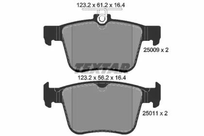 Комплект тормозных колодок, дисковый тормоз 2500901 TEXTAR