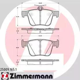 Комплект тормозных колодок, дисковый тормоз 25009.165.1 ZIMMERMANN