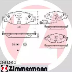 Комплект тормозных колодок, дисковый тормоз 25683.200.2 ZIMMERMANN